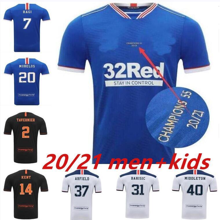 Glasgow Rangers Champions 55 Version Soccer Jerseys 2021 Defoe Morelos Kent Aribo Arfield 20/21 Men Women Kids Kits Top Football Jersey
