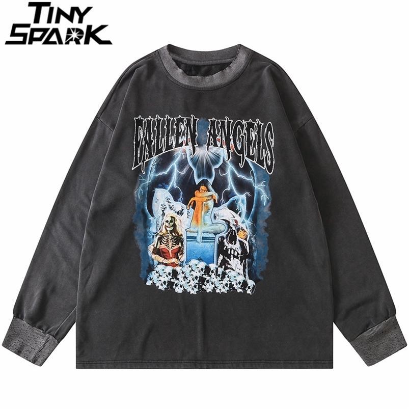 Sweat-shirt rétro de hip-hop Pullover Men Streetwear Harajuku Squelette Squelette Lightning Imprimer Sweat-shirt lavé en coton Pull lâche 210728