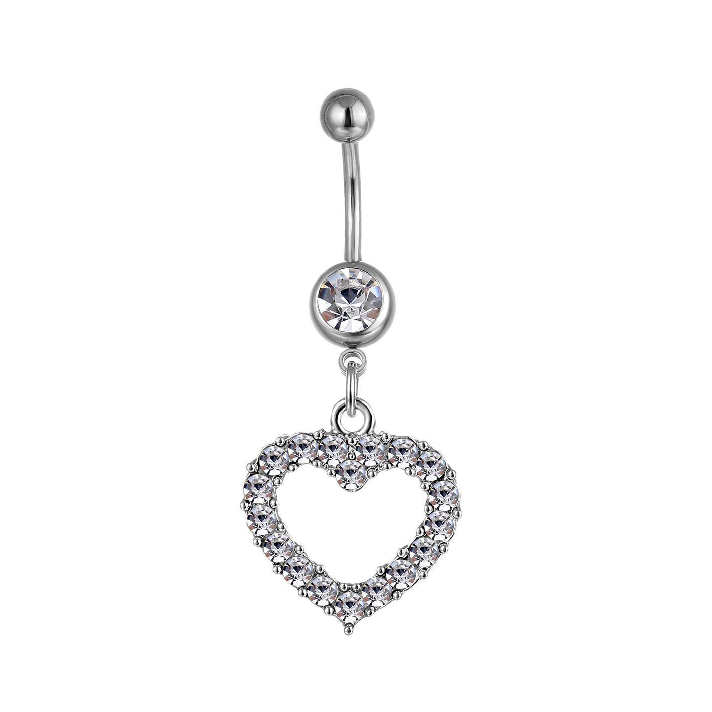 D0045 (4 färger) Hjärtstil Navel Rings Belly Button Body Piercing Smycken Dangle Tillbehör Mode Charms (10PCS / Lot) JFB-3245