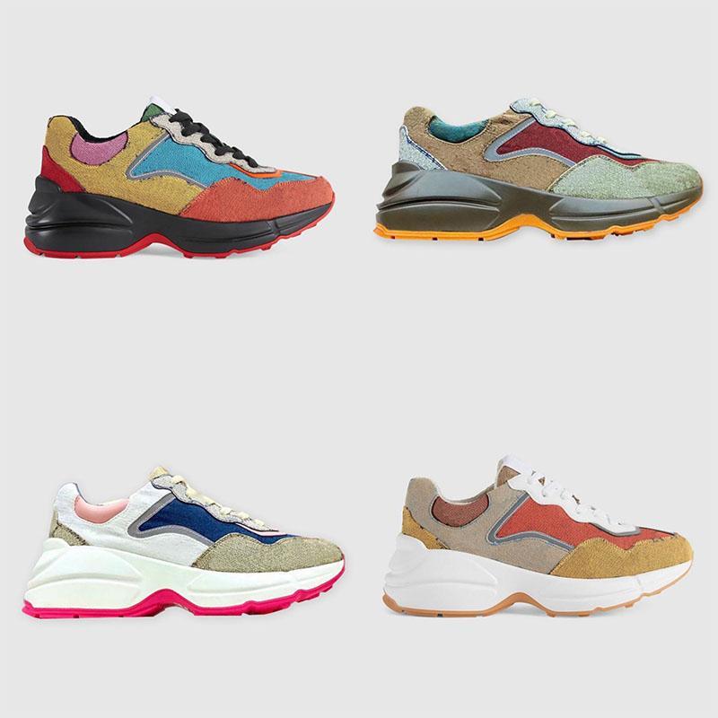 Mulheres Luxurys Designers Sapatos Rhyton Sneakers Bege Men Treinadores de Luxo Chaussures Senhoras Sapato Designer Sneaker Tamanho 35-46 Vintage