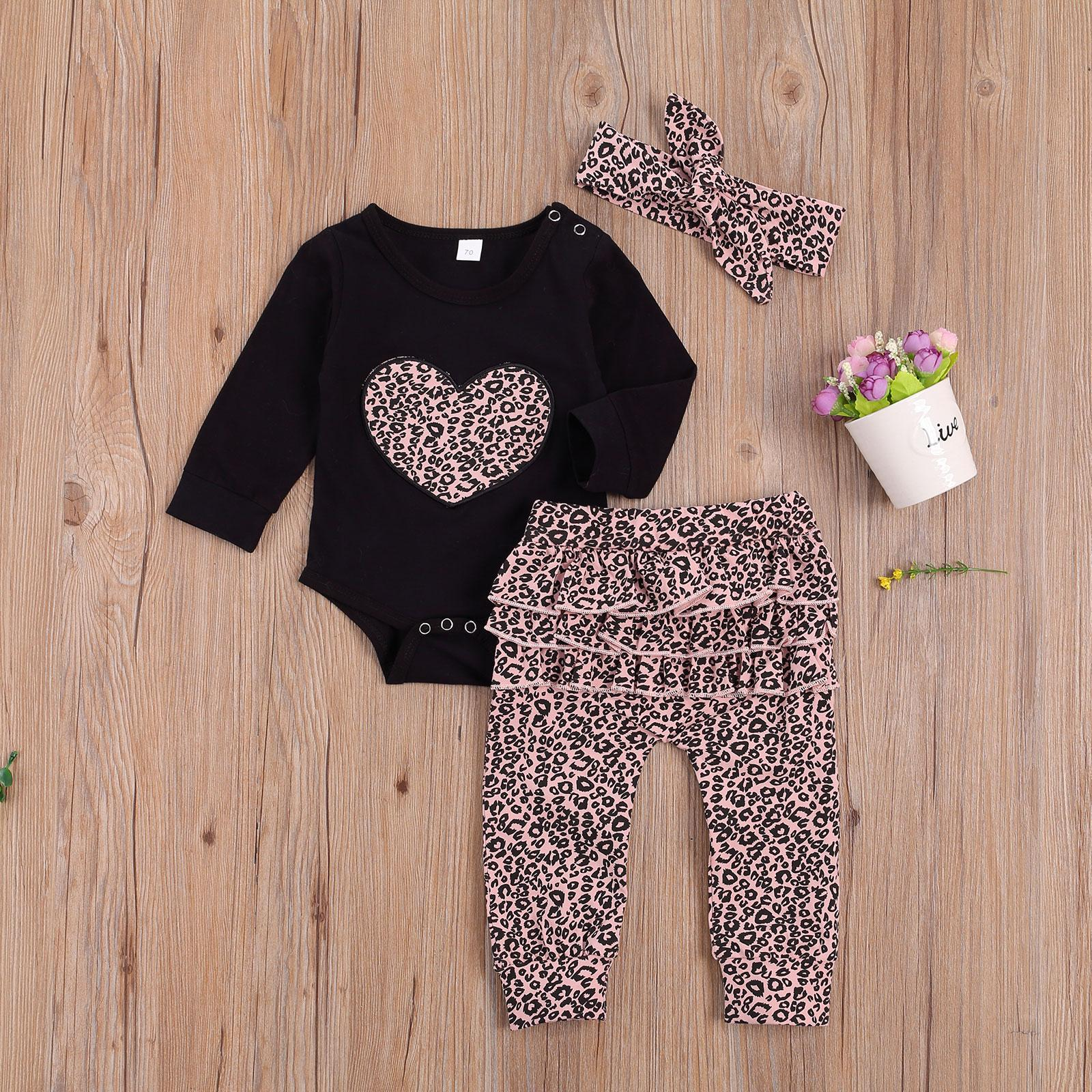 Baby Clothing New Born Cotton Neck Long Sleeve Heart Print Romper Loose Trousers Bow Headband 3 Pcs Leopard Outfits Clothes