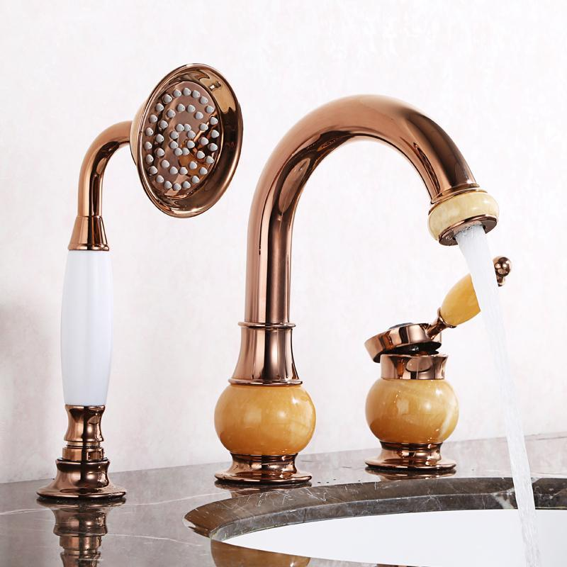 Lavabo rubinetto rubinetto in ottone bagno freddo e miscelatore tappo antico lavandino antico doppia maniglie in oro rosa rubinetti