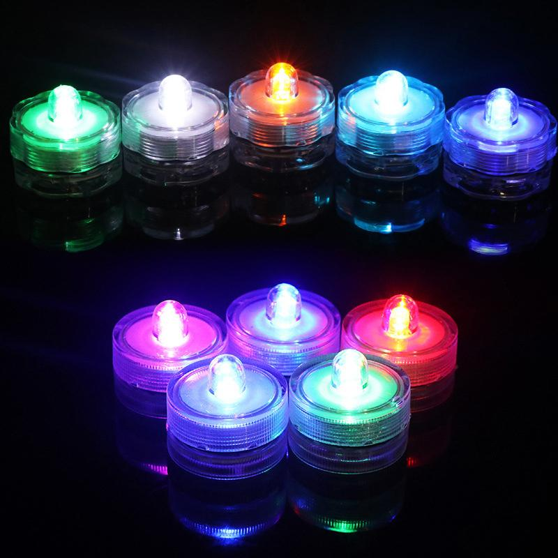 Светодиодный чайной свет Фестиваль декор IP65 водонепроницаемый цветочные круглые многоцветные погружные огни с батарейным питанием свеча для свадьбы