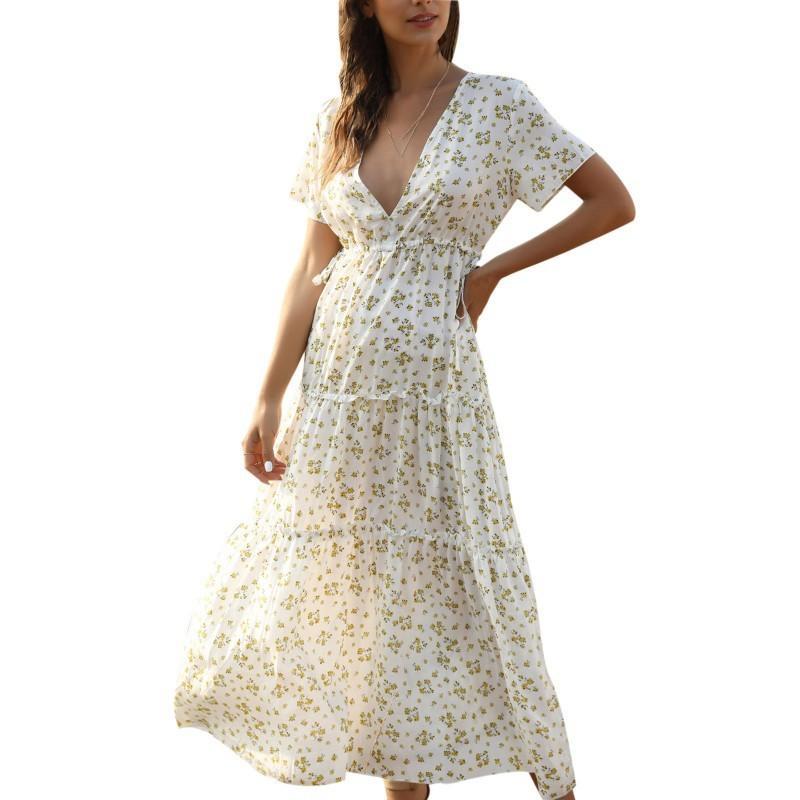 Mujeres Floral Vestido de impresión Verano Sexy Cuello en V Vestidos largos Femenino Elegante Vestido de fiesta Bohemio Vestido X0521