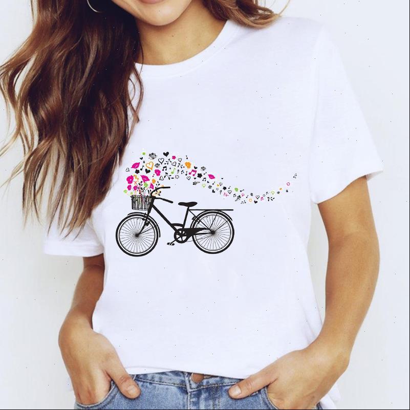 Frauen T-shirt Hemden Hemden Top für 90er Jahre Liebe Leben Fahrrad Nette Kurzarm Blumenkleidung Druck Dame Damen Weibliche T-Stück