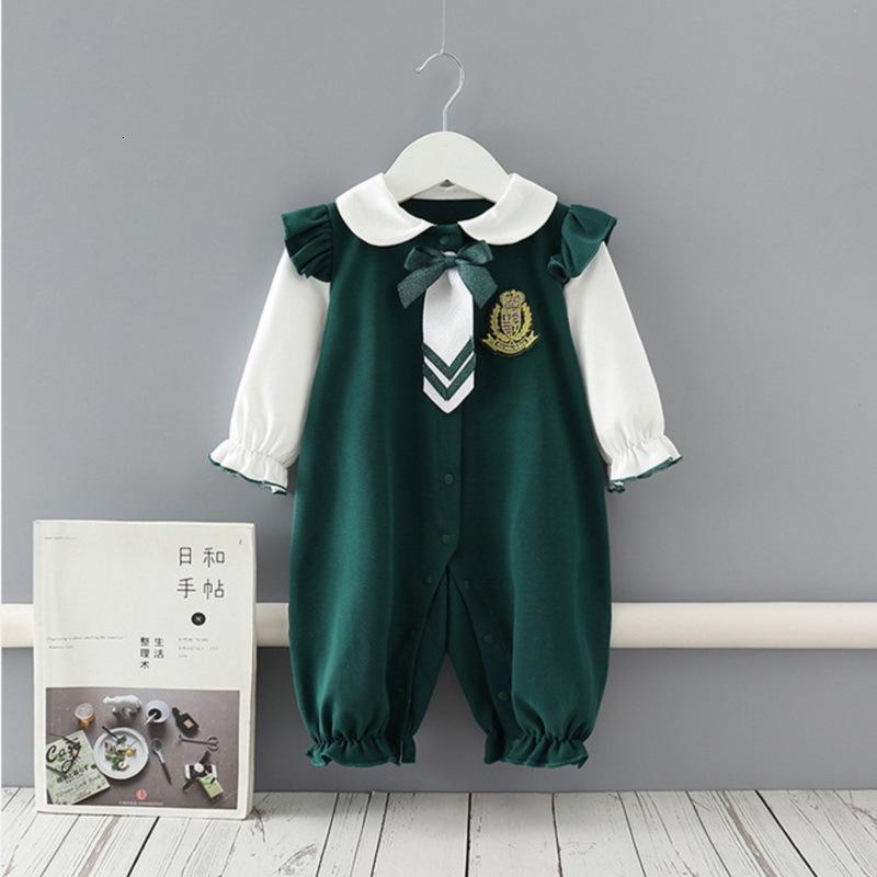 Rompers 도매 봄 아기 긴 소매 romper 진한 녹색 학생 스타일 넥타이 정장 소년 소녀 옷 E9102 88V2