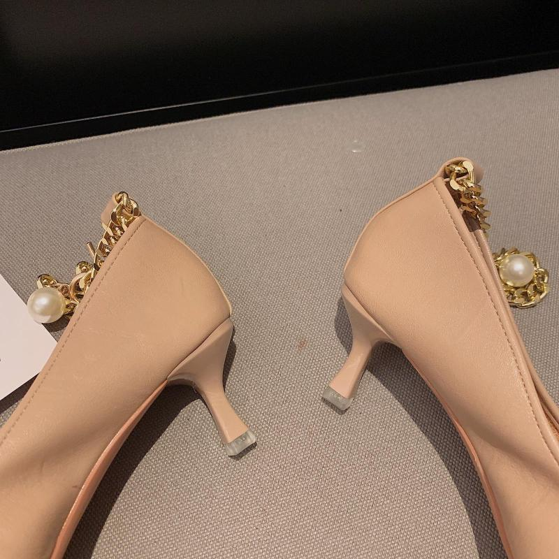 Платье Обувь Низкий каблук обувь с низкой каблукой Тонкая PU Riband Резина Базовый тонкий стебель на каблуке