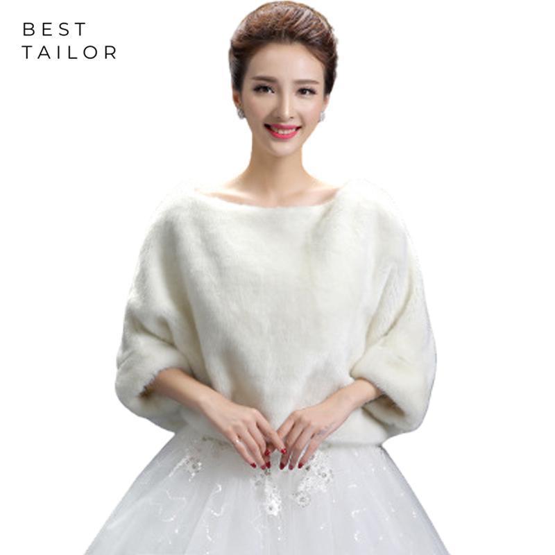 Wraps Jacken Luxus Feder Hochzeit Bolero Pelz Wrap Brautmantel Abdeckung Oansatz 3/4 Ärmeln Halten Sie Warme Winterzubehör Mariage