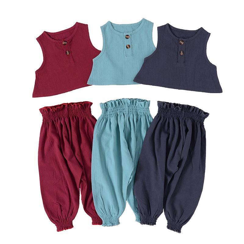 kids clothes girls boys Solid color set infant toddler sleeveless Tops+ruffle pants 2pcs/set fashion outfits summer baby Clothing Sets