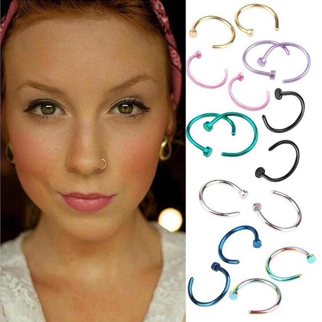 2020 Delicado Fake Septum Medical Titanium Anillo Piercing Piercing Plata Cuerpo Cuerpo Hoop Para Mujeres Girls Septum Clip Hoop Jewelry Regalo