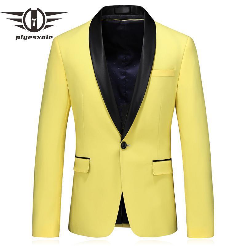 Men's Suits & Blazers Yellow Blazer Men 2021 Spring Autumn Shawl Collar Homme Marque 5XL Mens Casual Terno Masculino Slim Fit Q733