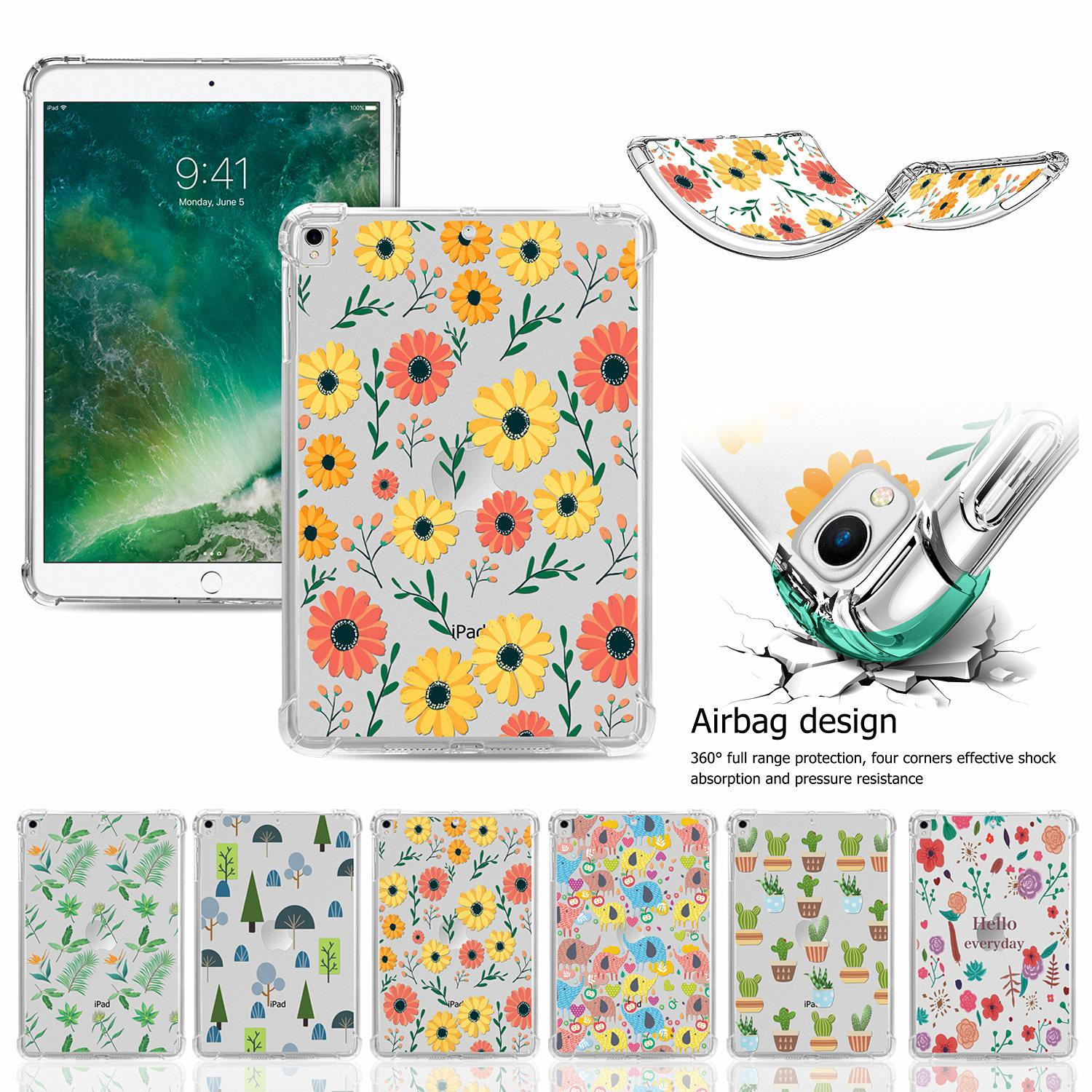 """Clear Tablet Cases Slim Silicone Transparent Soft Back Cover Case For Apple iPad Pro 9.7"""" 12.9 Inch Mini Air 7th Generation Flexible Protective Shell Skin Cute Daisy"""