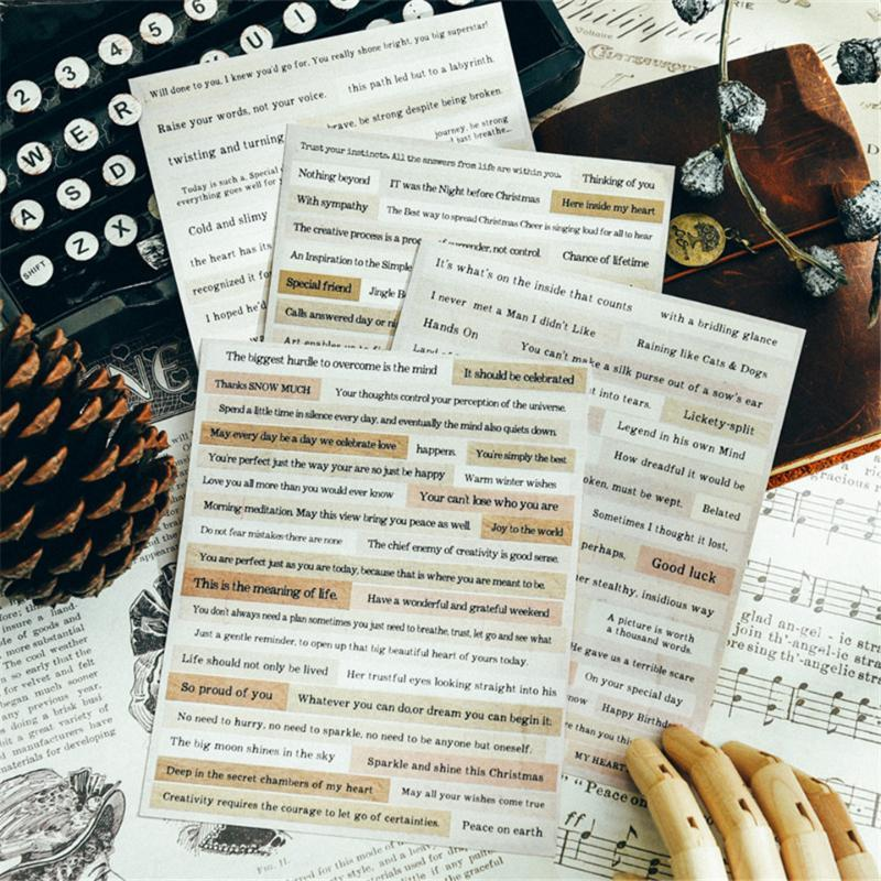 선물 랩 4sheets 빈티지 단어 Washi 종이 스티커 키트 DIY Scrapbooking 정크 저널 플래너 PO 스티커 카드 만들기