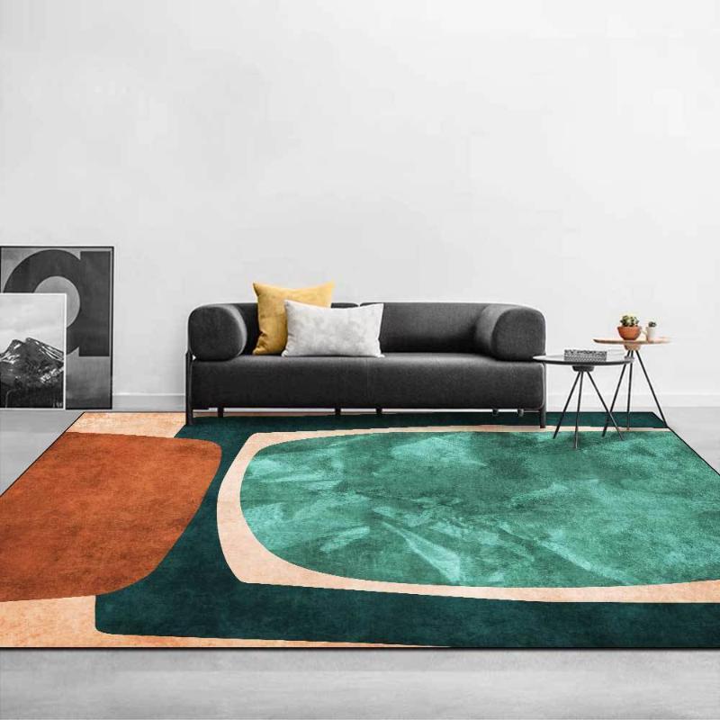 Carpets Green Carpet Modern Abstract Geometric Living Room Rug Blue-Brown Bedroom Area Floor Anti-Slip Decoration Mat