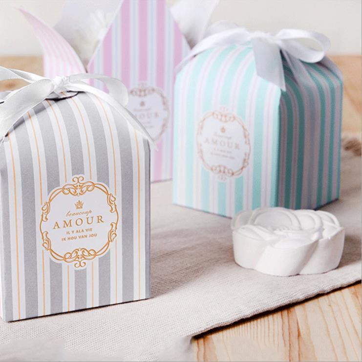 Hediye Paketi 50 adet / grup Tiffany Mavi Beyaz Şerit Exquisite Küçük Kutu Pişirme Pasta Çerez Sarıcı Karton Düğün Parti Favor Şeker