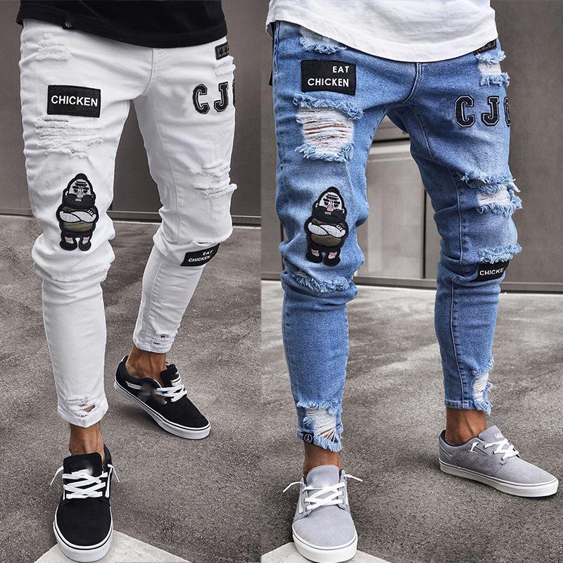 Stilleri Erkekler Stredy Yırtık Sıska Biker Nakış Baskı Jeans Yıkılan Delik Bantlı Slim Fit Denim Çizik Yüksek Kaliteli Jean Erkekler