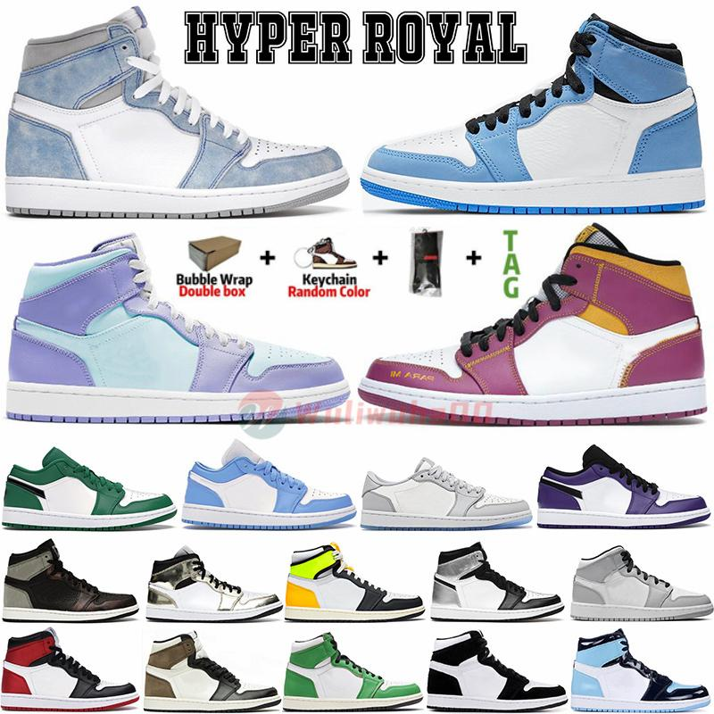 jordan High Hyper Royal 1 Tênis de basquete masculino University Blue 1s Mid Chicago Roxo Aqua Low UNC Travis scotts Tênis esportivos Jumpman Feminino