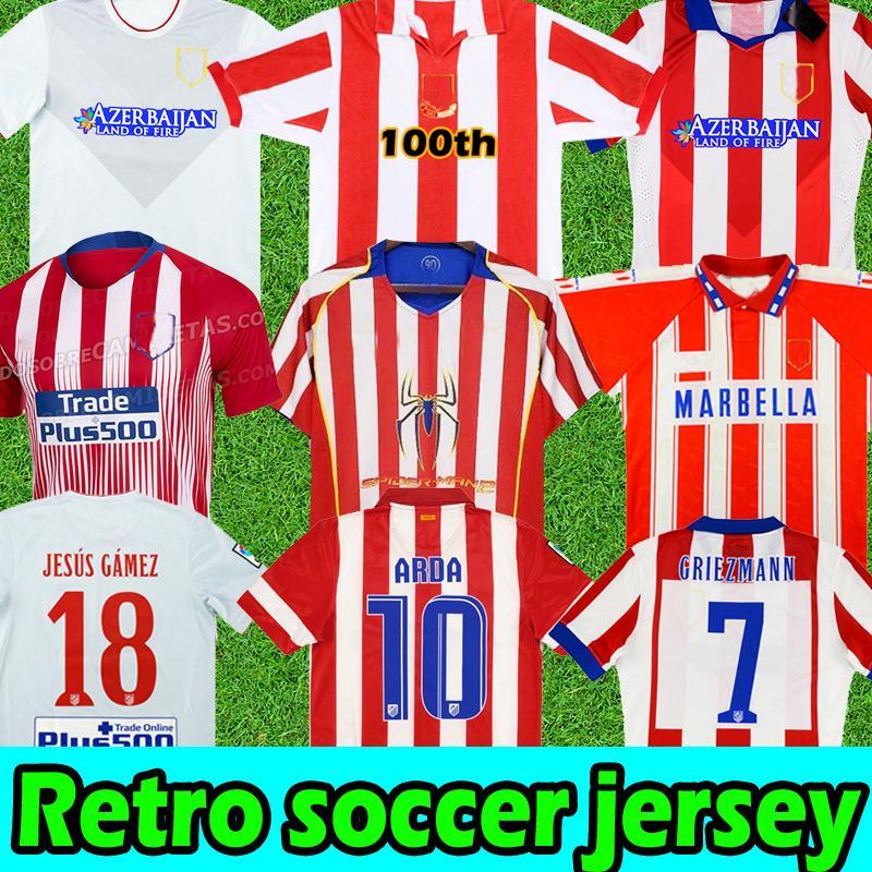 Retro Futbol Formaları 94 95 96 97 03 04 05 Atletico Klasik Vintage Madrid Centenary 13 14 15 Erkekler Jersey Futbol Gömlek Griezmann F.Torres Simeone Jesús Gámez Arda Courtois