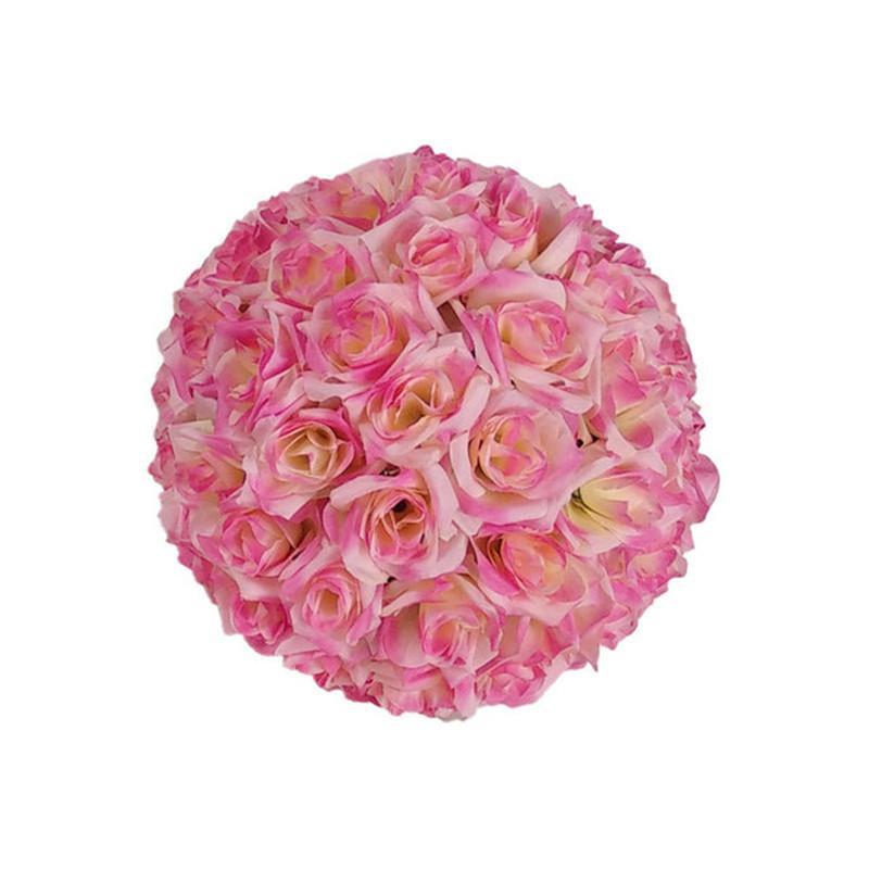 """10 """"/ 25 cm Artificiale Rosa Seta Flower Crimping Kissing Balls Ornamenti natalizi Ornamenti Decorazioni per feste di compleanno Compleanno Forniture"""