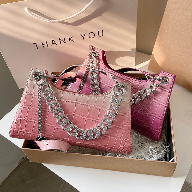 Borsa a tracolla modello retrò di coccodrillo per le donne Ascella in pelle PU Francia Baguette casual borse femminili borse avanzate borse trasversali