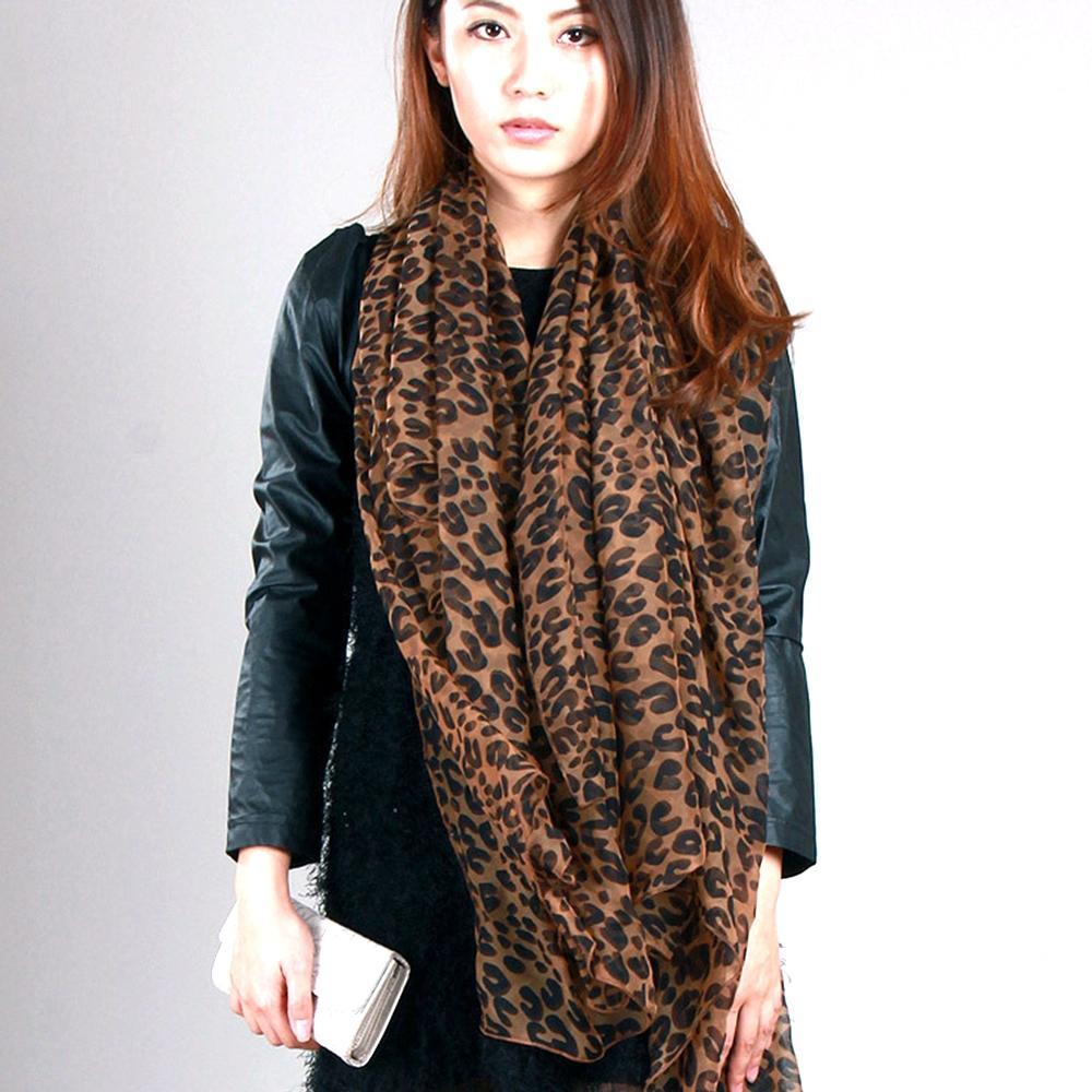 6st Pop Mode Kvinnor Leopard Print Soft Shawl Muslin Scarf Wrap Long Balinese Garn 2Colors