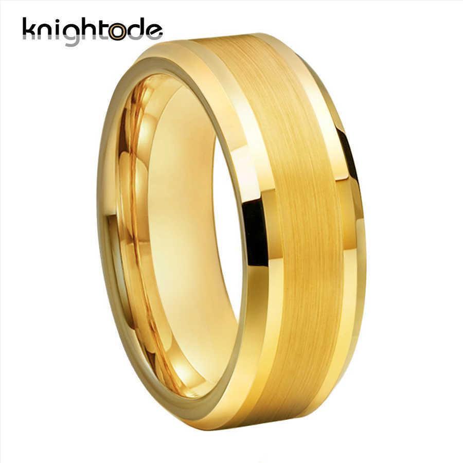 6mm 8mm Gold Tungsten Carbide Wedding Band For Men Women Engagement Ring Center Brushed Beveled Edges Polished Comfort Fit Y0723