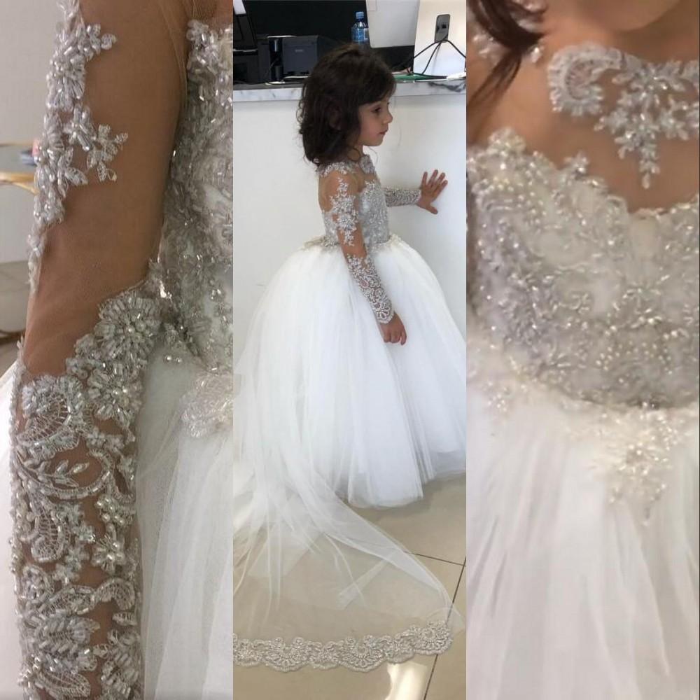 2021 White Flower Girls Dresses For Weddings Lace Appliques Crystal Beading Illusion Neck Long Sleeves Party Birthday Dress Children Girl Pageant Gowns