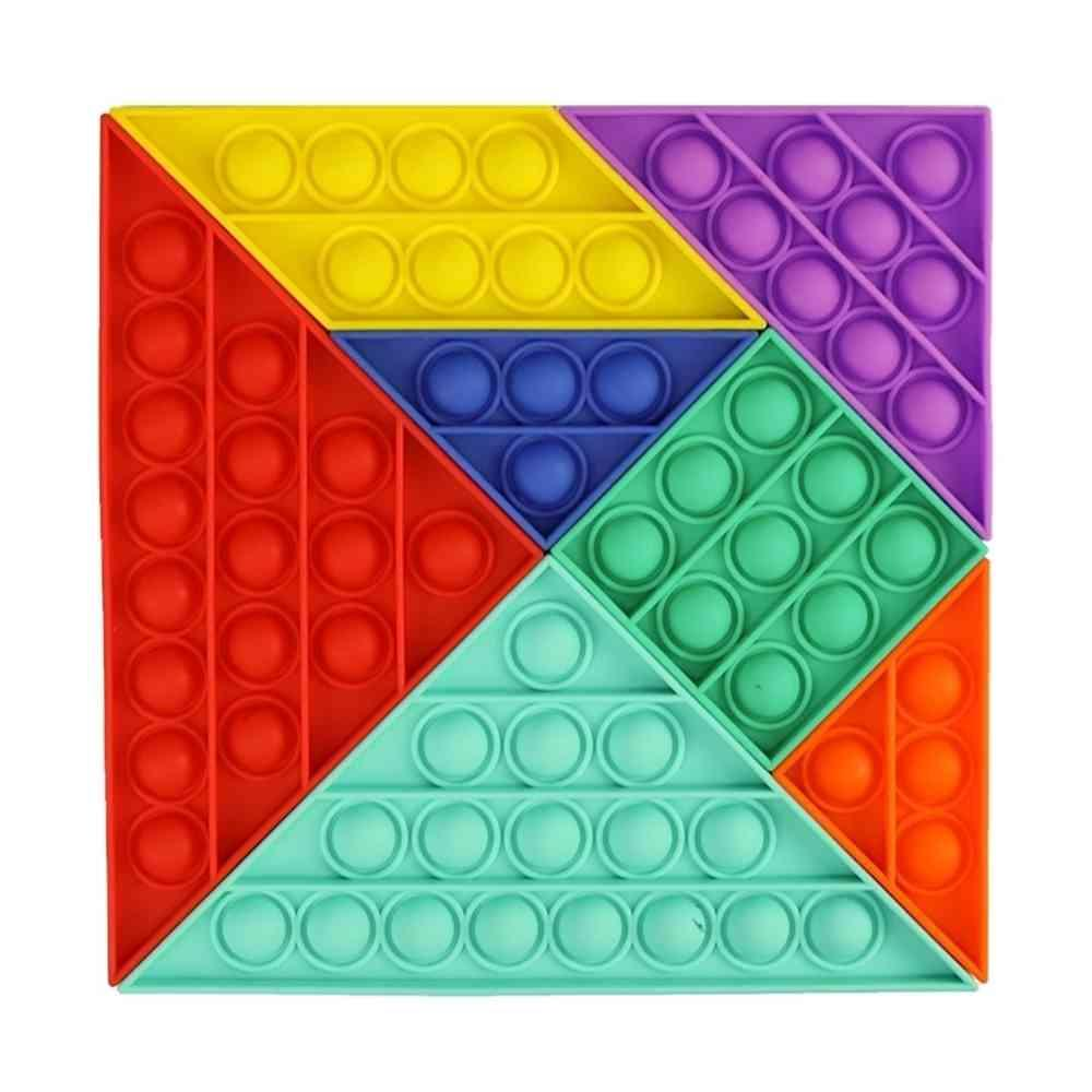 Poussez POP Bubble Sensory Jouet Tangram Diy Seven-Pièce Puzzle Fidget Toys Enfants Education Education Puzzle Puzzle Jeux Decompompression Gadget H32Y1lo