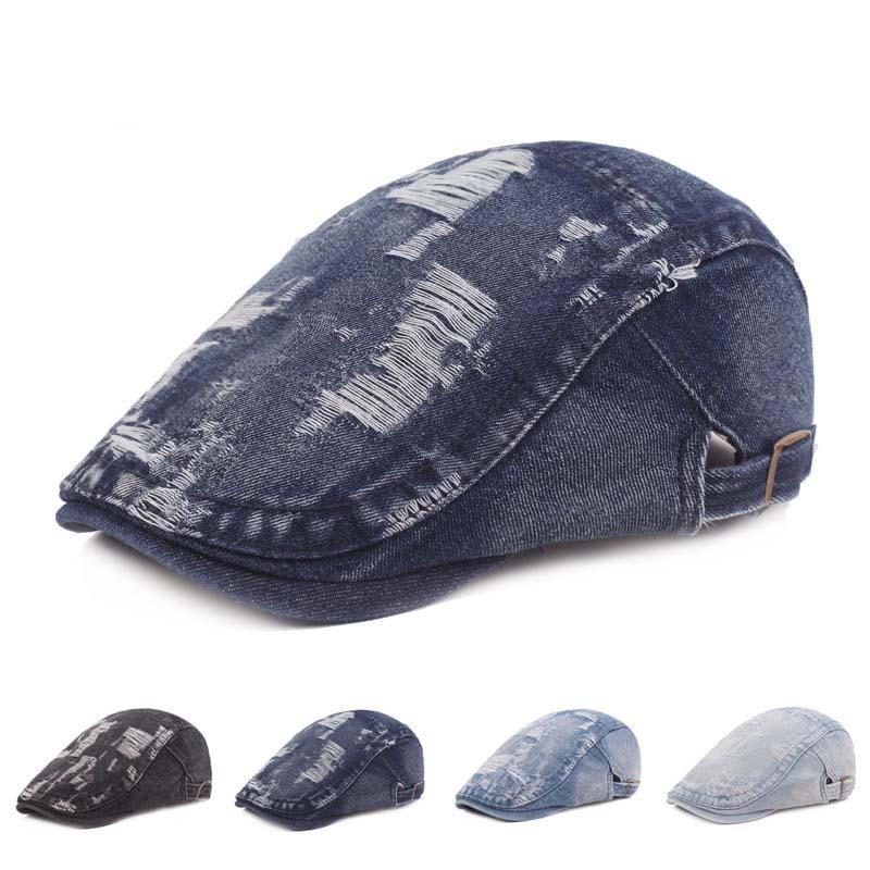قابل للتعديل الدينيم ذروة غمامة المرأة القبعات الرسام الفنان في الشمس الرجال شقة قبعة مسطحة تنفس هيرنينج ربيع قبعة 319 B3