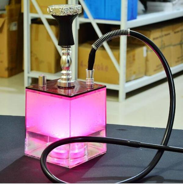 LED Hookah Recycler Rigs in vetro Bong Smoking Pipe Pipe Waterbong Tubo Intedy DAB Rig in acrilico Shisha