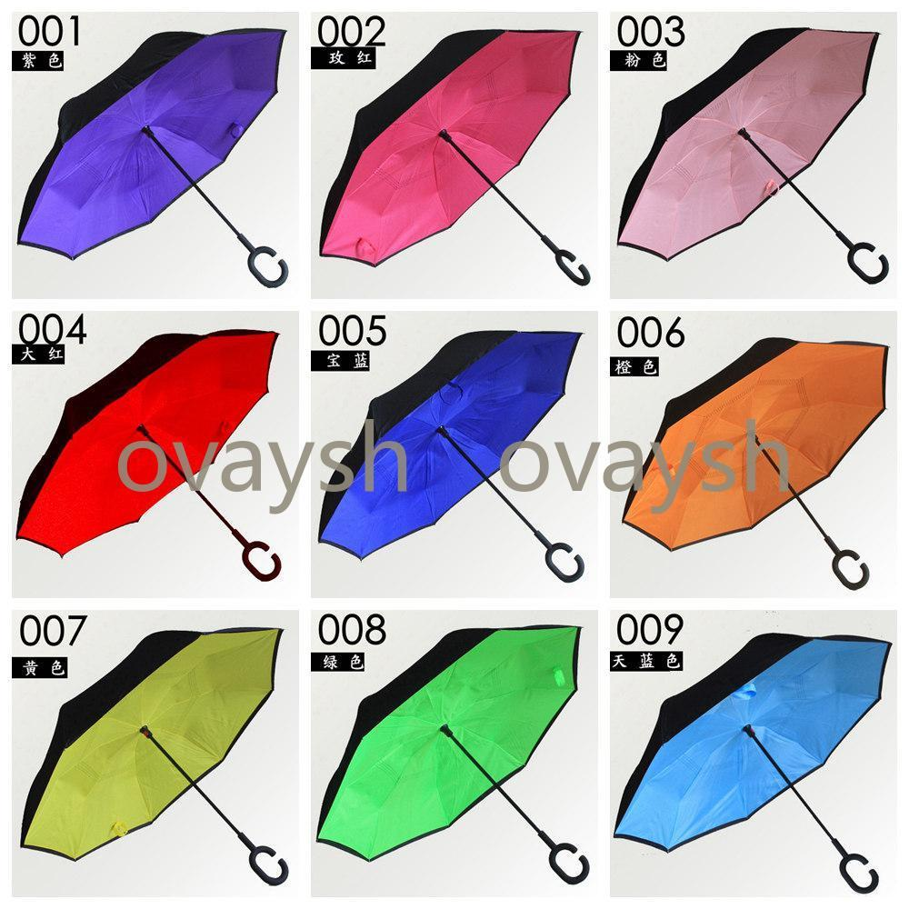 64 Colors Design Windproof Reverse Umbrella Double Layer Inverted Umbrellas C Handle Umbrellas For Car