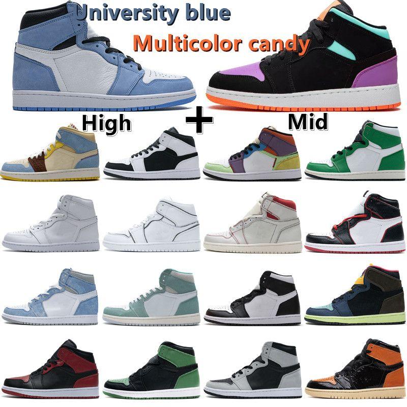 retro Jumpman 1 Obsidian Unc Sortudo Verde 1S Mens Basquetebol Sapatos Escuro Mocha Universidade Azul Twist Twist Mulheres Sneaker Treinadores Tamanho 36-46 com caixa
