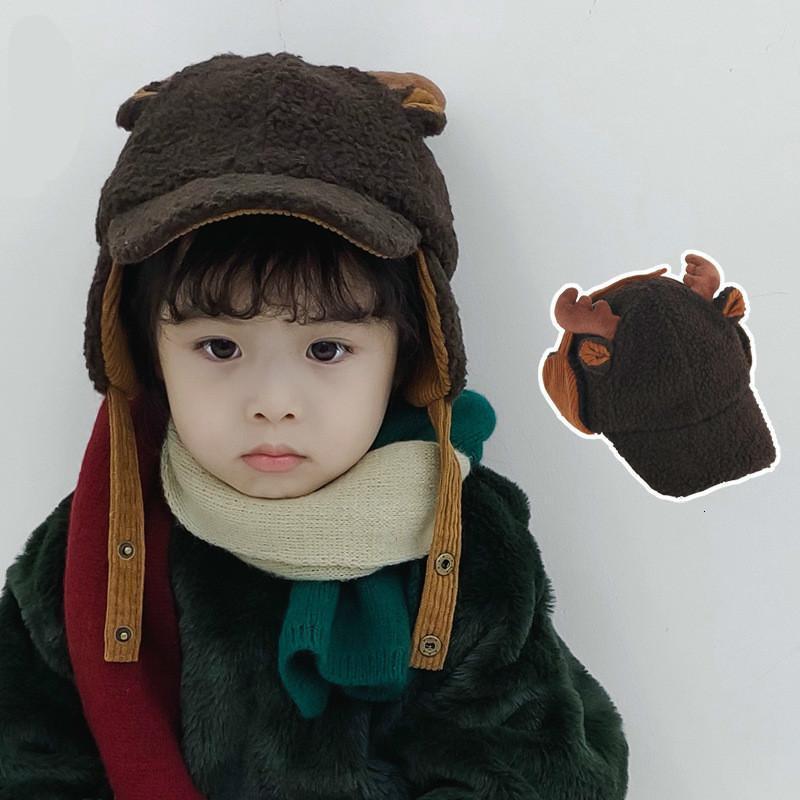 아기 모자 시즌 사랑스러운 새끼 뾰족한 모자 남자와 여자 아이들은 따뜻한 북동쪽 귀걸이 모자 야구 모자를 유지합니다.