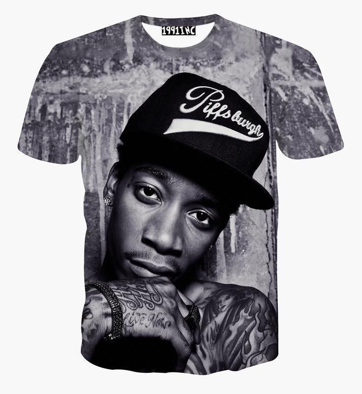 fashion men/women New 3D t shirt printed character portrait Wiz Khalifa Hip Hop rock singer punk tshirts summer tees clothes