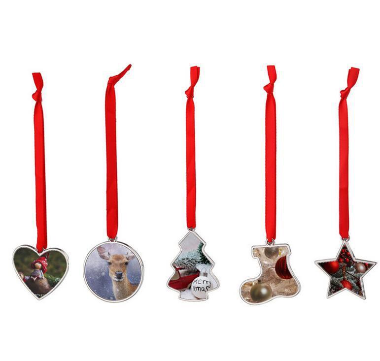 DIY sublimação em branco decoração de Natal pingente transferência de calor creative metal artesanato ornamento de festa por atacado