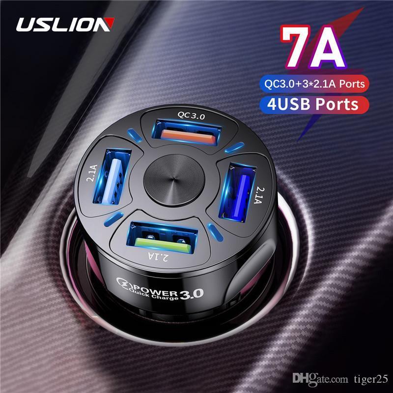 4 portas Carga de carro USB 48W Quick 7A mini rápido carregamento rápido para iPhone 11 xiaomi huawei adaptador de carregador de telefone celular no carro