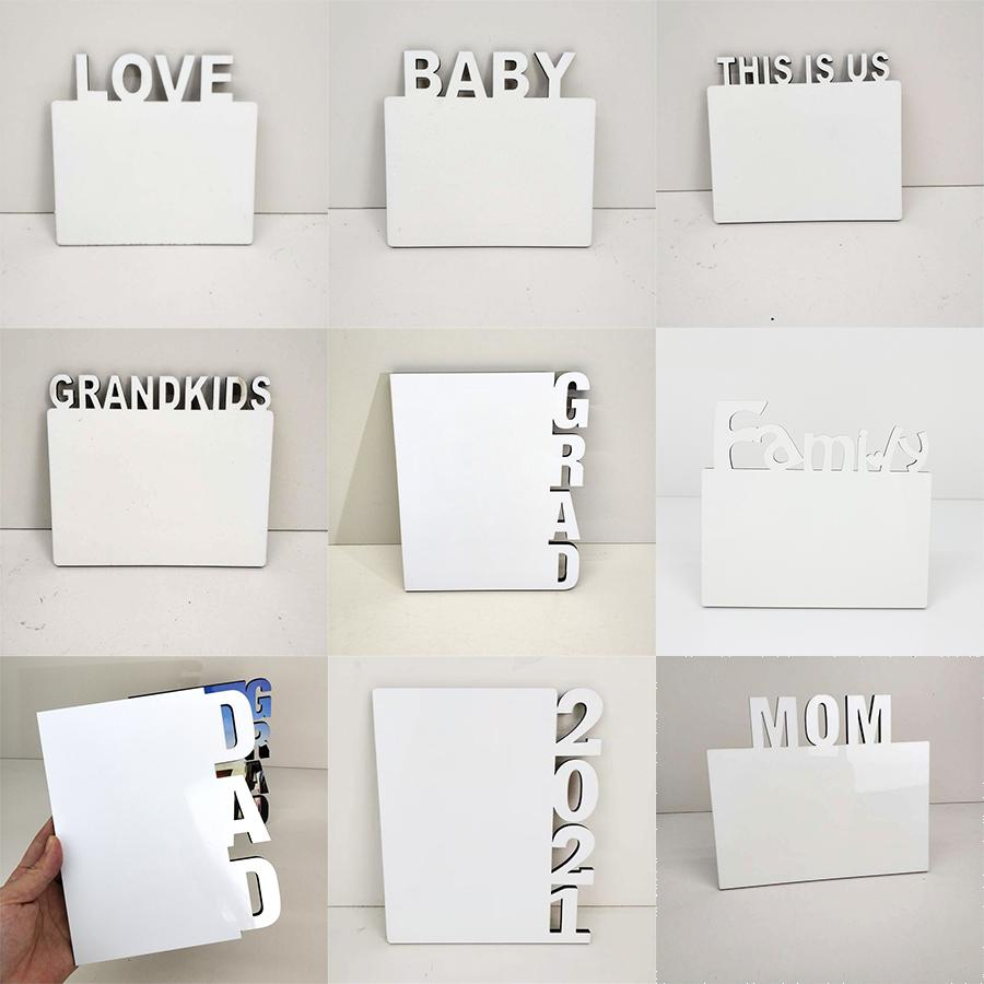 Sublimation Blanks Frame Plate English Alphabet DIY Picture Album Home Decorations LOVE/MOM/FAMILY/2021 MDF Blank Frames w-00750