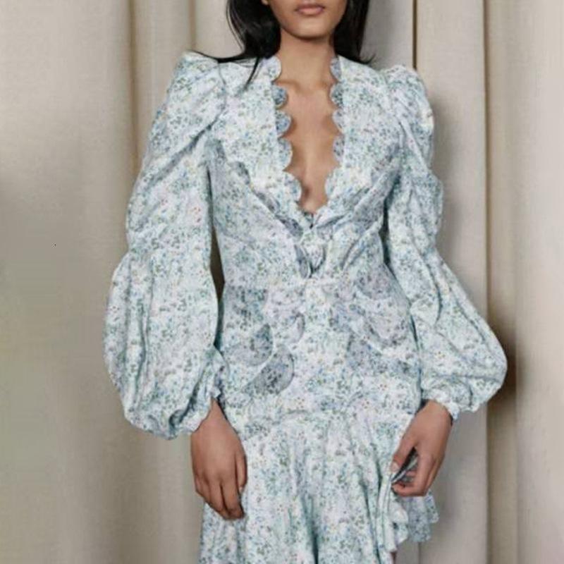 Günlük Elbiseler Kadınlar Çiçek Baskı Fener Kol Yüksek Bel Tunik JBU5