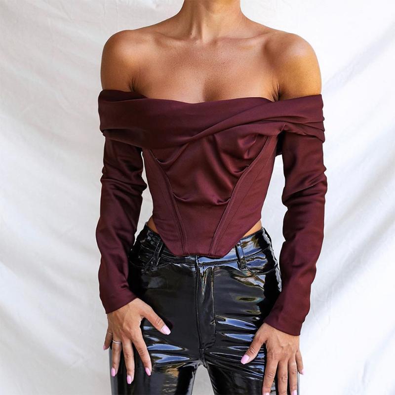 56756 mulheres fora do ombro cetim espartilho tops manga longa blusas camisas de vinho elegante camisas sexy sem costura cortada