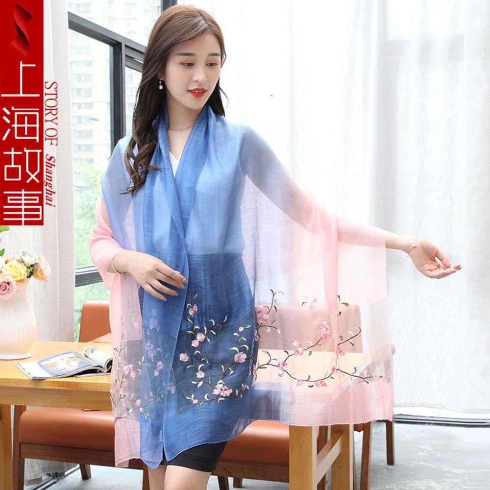 Prodotti DesignerNew di alta qualità a Shanghai Story Hangzhou Silk Spring Molla e autunno Lady Ricamo Sciarpa da seta Scialle scialle