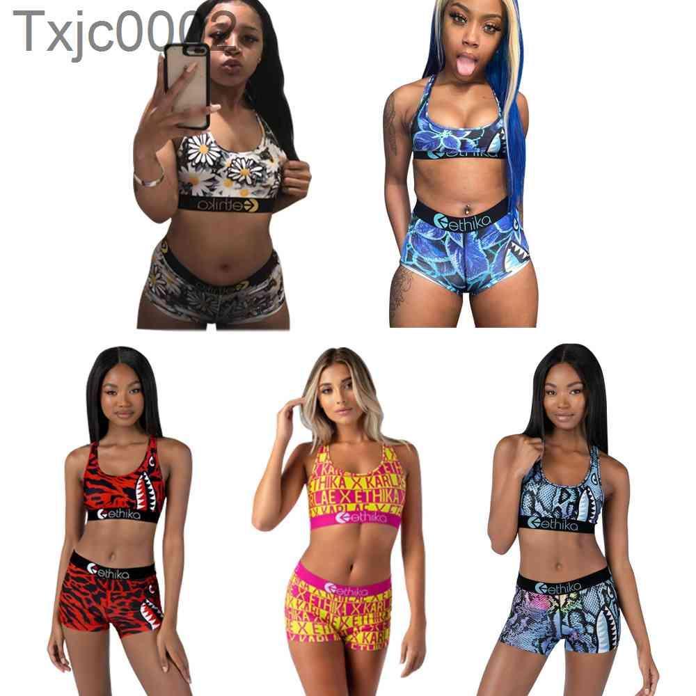 2021 Novo Swimsuit de Verão Terno Mulheres 2 Piece Ethika Set Designer Colete Calças Sweatshirt Slim Respirável Fitness Swimwear