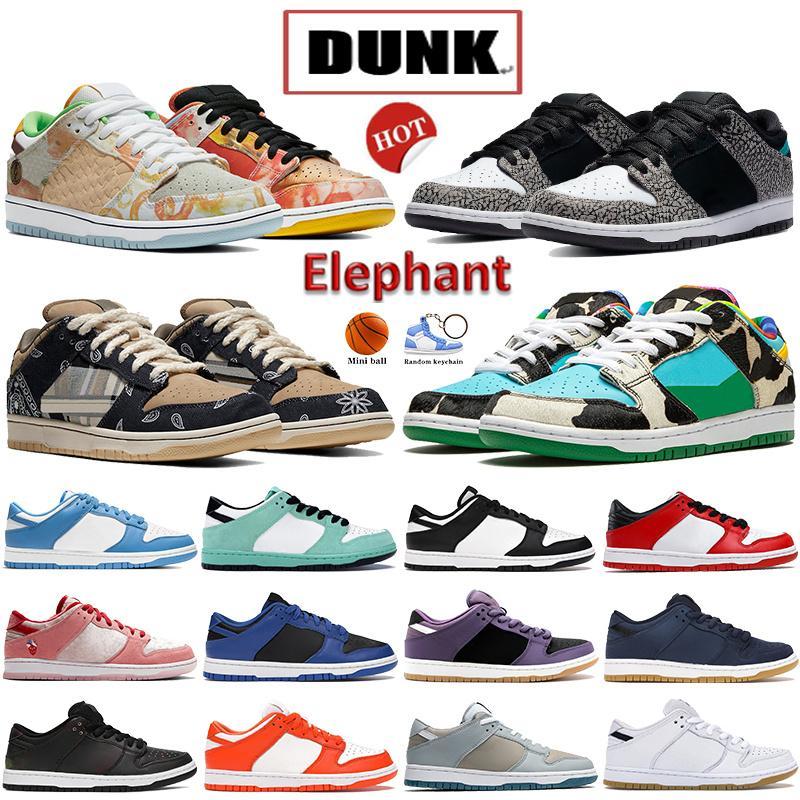 Mais novo Dunk Elefante UNC plataforma Correndo Sapatos Rua Costa Costa Chunky Dunky Branco Black Cactus Universidade Blue Kentucky Bave Men Sapatilhas