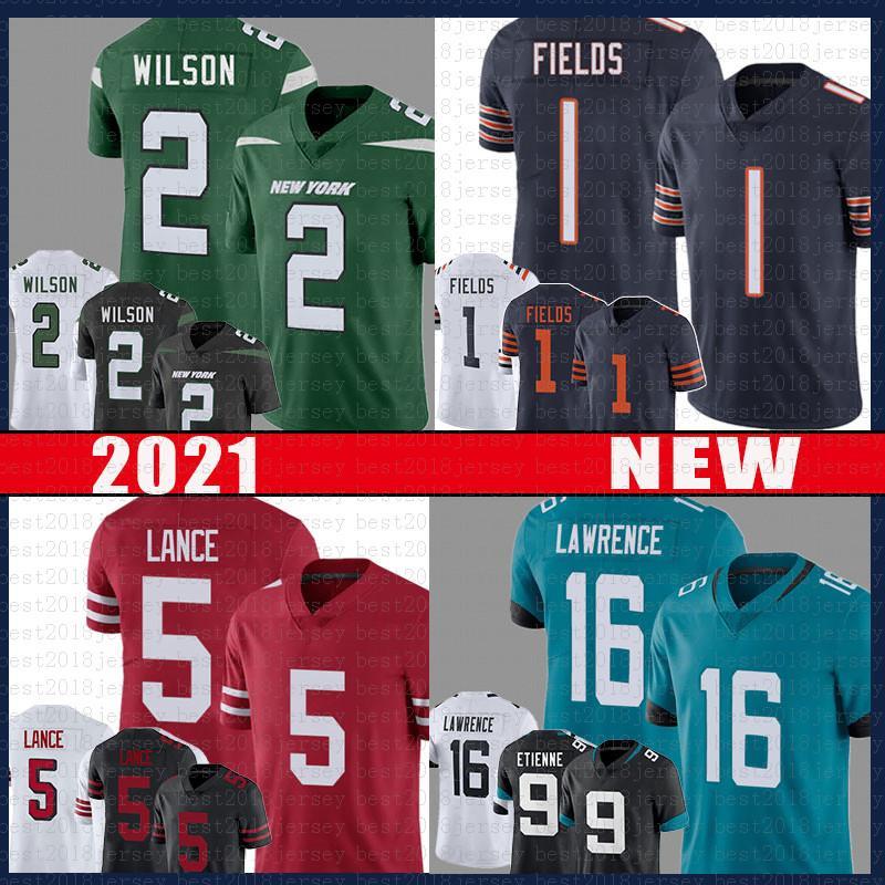 17 Jaylen Waddle 1 Justin Fields 2 Zach Wilson 16 Trevor Lawrence American Football Jersey 5 Trey Lance 9 ترافيس Etienne 2021 مسودة الفانيلة