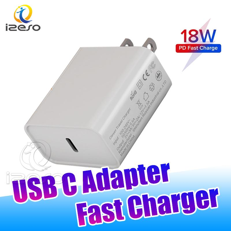 18W Power Fast Charger Type C USB PD Quick Charge Adapter Home Travel Wall Chargers for iPhone 12 Pro Max LG Smartphone izeso