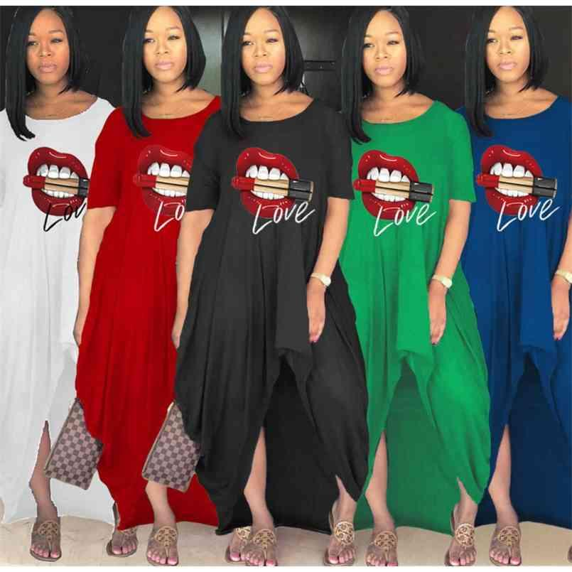 20PCS/DHL S-4XL Big Red Mouth Print Irregular Split Summer Dress for Women Maternity Party Beach Club Overall Oversize Loose Dresses One piece Skirt Clothing G65WORH
