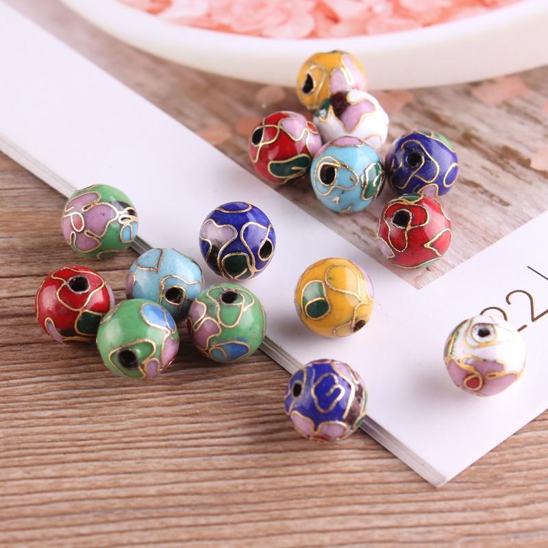 20 pcs polido cloisonne esmalte colorido 10mm contas artesanais DIY brincos colar pulseira jóias fazendo achados atacado