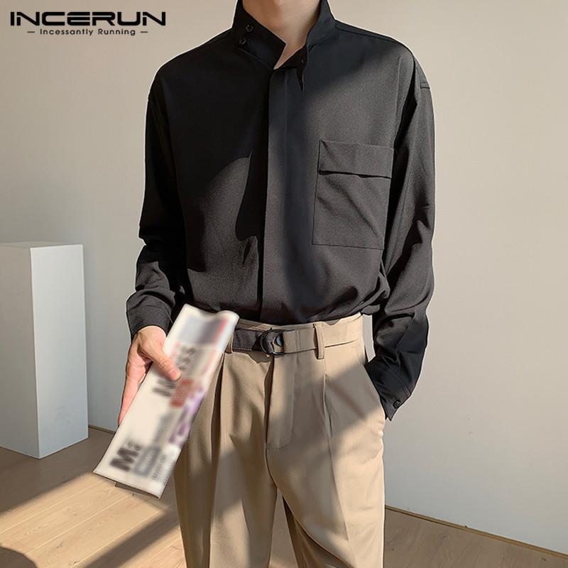 패션 남자 캐주얼 셔츠 스탠드 칼라 긴 소매 단단한 한국 블라우스 버튼 잘 생긴 streetwear camisa s-5xl 남자 셔츠
