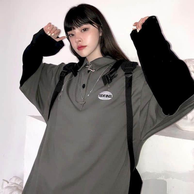T-shirt Femmes Tshirt T-shirt à manches longues Étudiants Coréen lâche Fake Two-Pièce lettre Broderie Polo Collier Top Tendance 210525