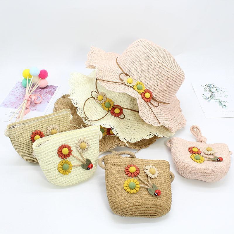 Seioum 두 조각 세트 아이 태양 꽃 파나마 모자와 핸드백 야외 공주 소녀 키즈 밀 짚 모자 자외선 보호 모자 모자 가방