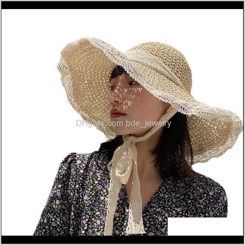 Gorras sombreros, bufandas guantes moda aessieshathat hembra st estilo coreano marea verano verano sesta transpirable encaje hueco pequeño fresco viento a prueba de viento